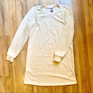Alya Sweatshirt Dress with Faux Pearl Detailing
